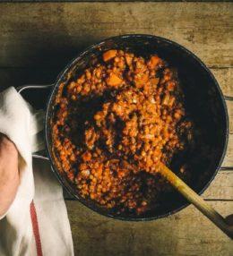 Potaje de lentejas con arroz y verduras